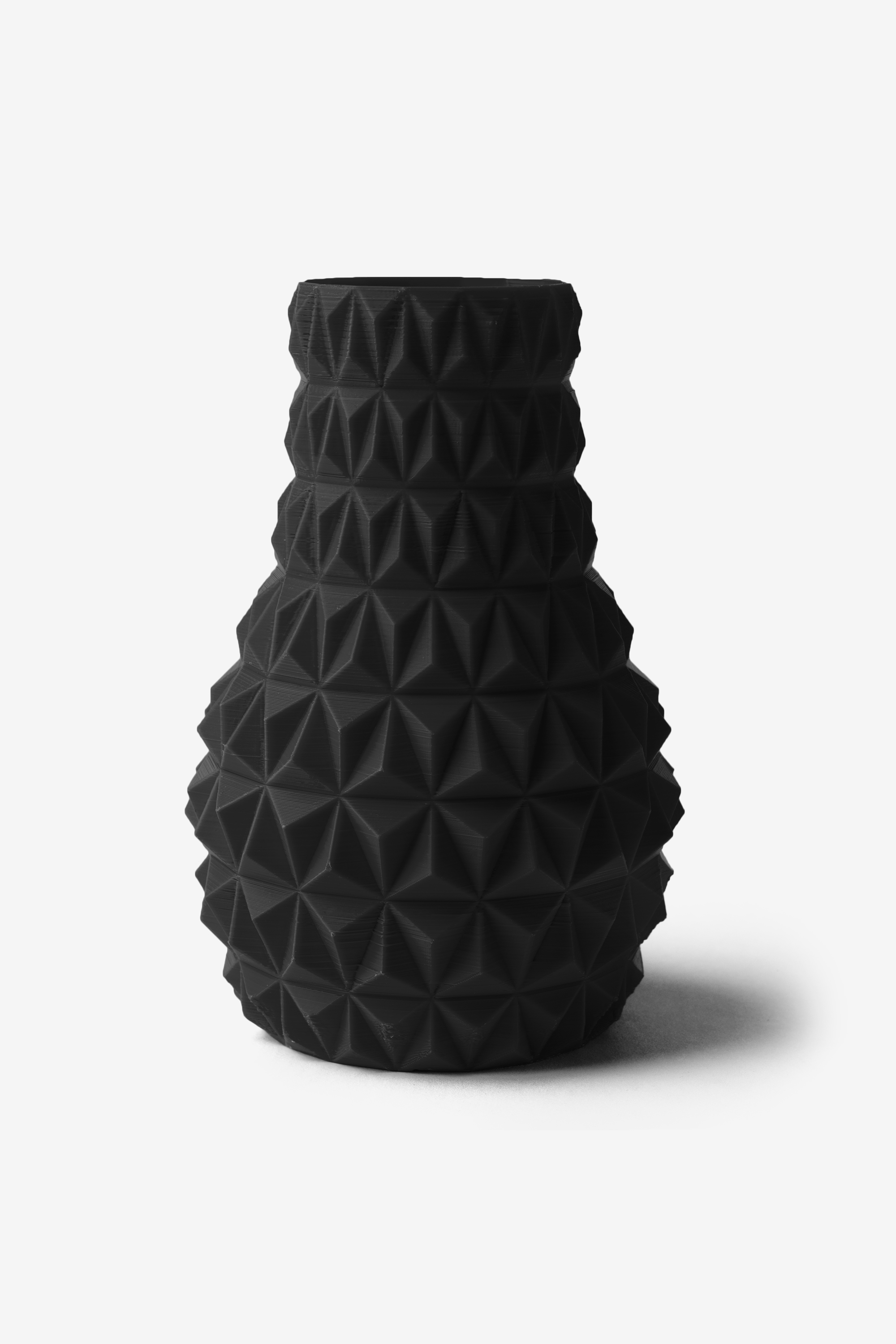 3D Printed Faceted Vase in Black, Design by Matthijs Kok for Cubify