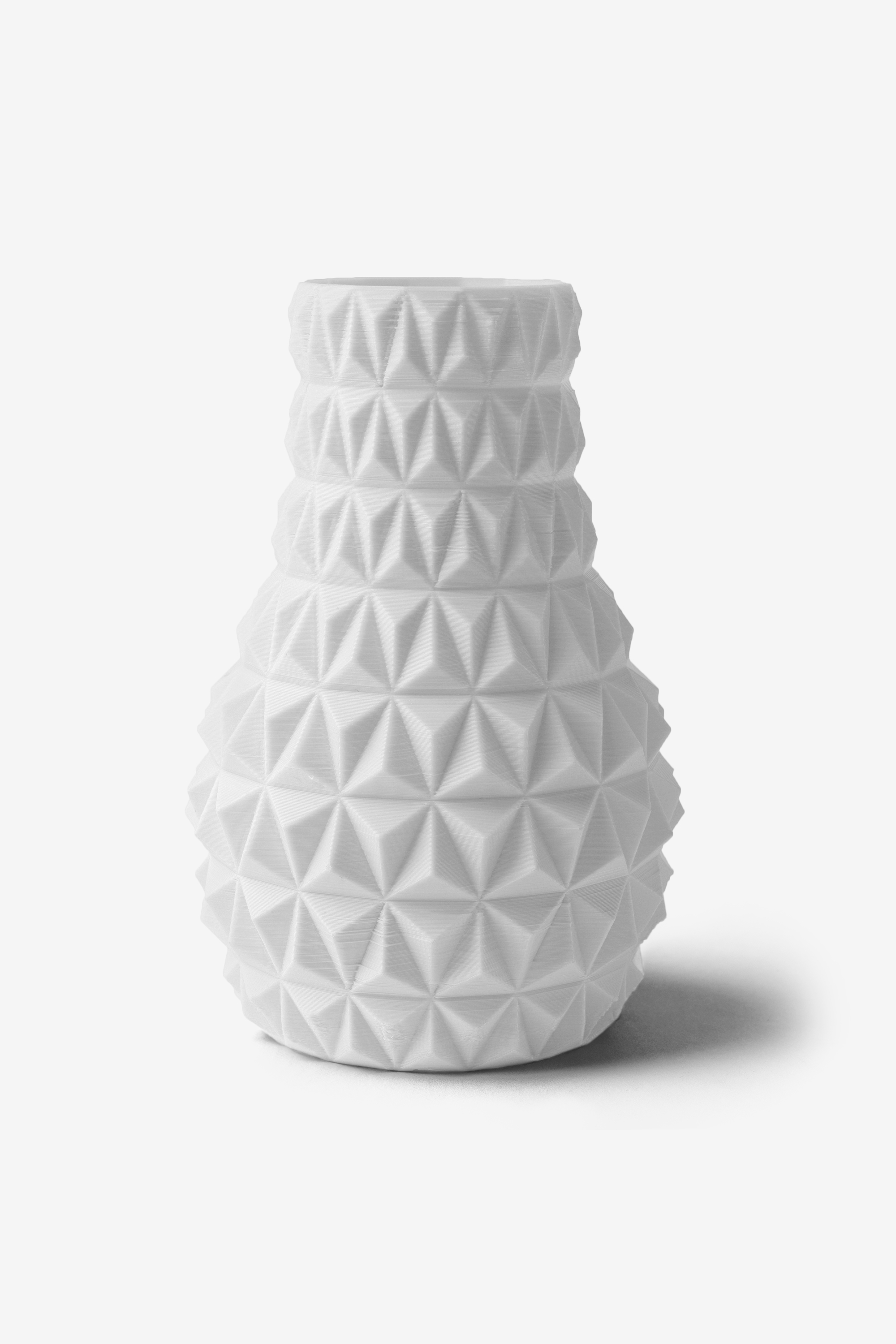 3D Printed Faceted Vase in White, Design by Matthijs Kok for Cubify