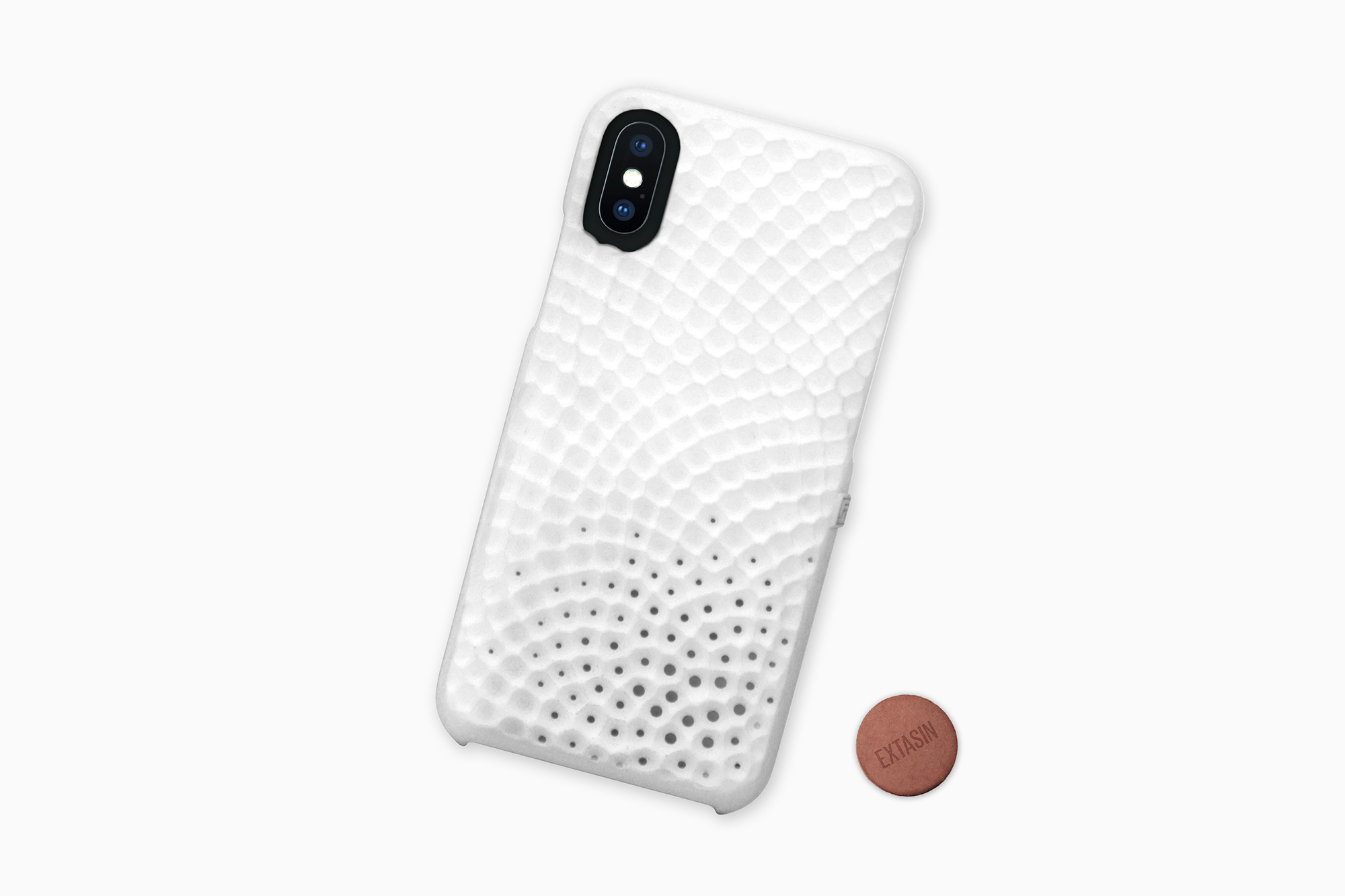 Stonework Perfume Case for iPhone with ceramic Extasin coin, Design by Matthijs Kok for Freshfiber