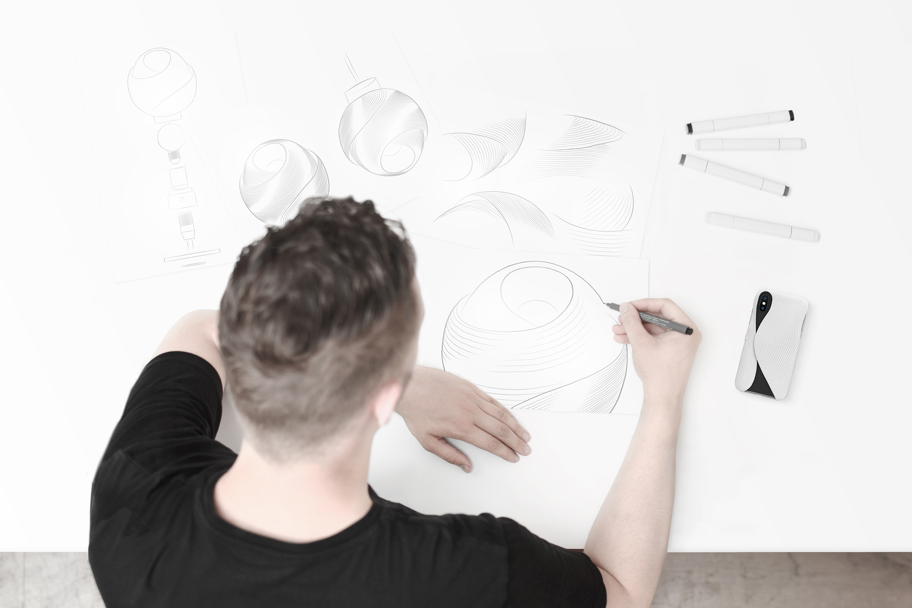 Fold Lamp Design Sketches by Matthijs Kok